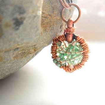 Copper wire wrapped pendant Green Agate necklace Full by Daniblu