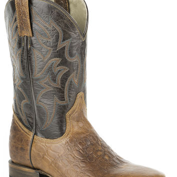 Roper Mens Faux Exotic On Leather Sq Toe Boots Faux Maddog Sea Turtle Brown Shaft