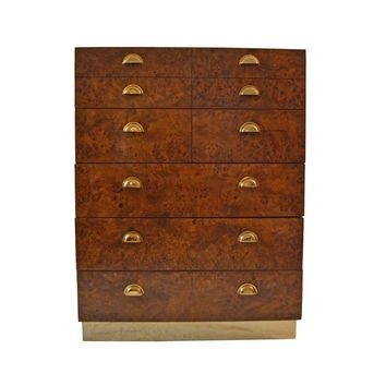 Pre-owned Brass and Burl Wood Highboy Dresser by Founders