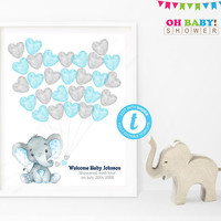 Guest Sign in Baby Shower, Elephant Baby Shower Guest Book, Guest Book Alternative, Watercolor, Printable Guest Book Template Blue Gray ELWB