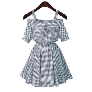 Women Fashion Gingham Retro Robes Gowns Clothing Wear Dress