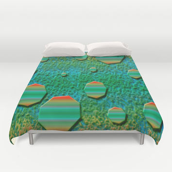 Celestial Octagon Orbs of Planet Uranus Duvet Cover by Distortion Art