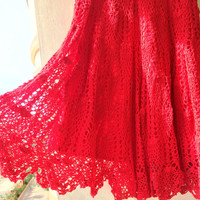Crocheted Red Midi Skirt, Knee length Handmade red Skirt, Pattern Skirt