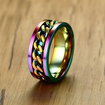 Rainbow Chain Spinner Stainless Steel 8mm Ring for Men AND Women