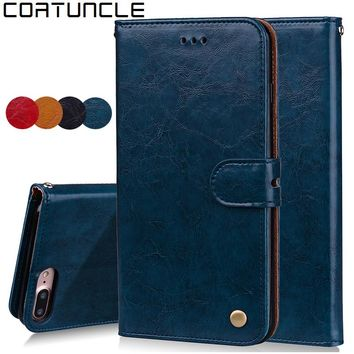 COATUNCLE Original For iphone 8 plus Case Wallet Flip Bags Phone Cover Card Slots Leather Stand Case For iphone 8 Plus Men Women