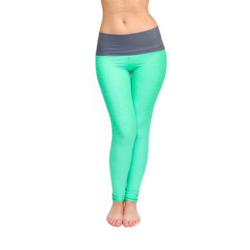 FREE SHIPPING, Mint Yoga pants, Mint Long Leggings, Workout Pants, Yoga Tights, High Waisted Leggings, Handmade Leggings, Fitness Clothing