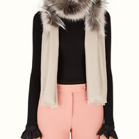 FENDI | SIGNATURE STOLE in white silk and wool and fur | Fendi Online Store