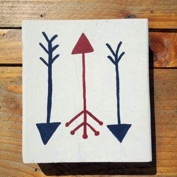 Fourth of July Sign, Patriotic Sign Decor, Wood Arrow Sign, Red White and Blue Decor, Rustic Reclaimed Decor