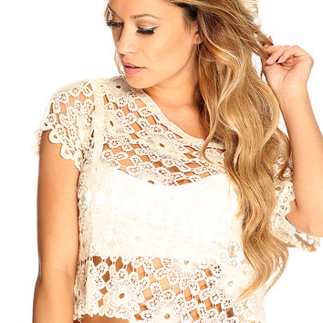Beige Crochet Pattern Short Sleeve Summer Top