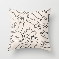 Floating Cats Throw Pillow by Kitten Rain
