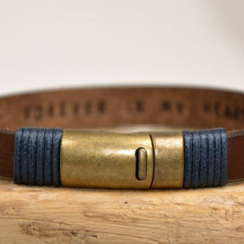 Men's Bracelet, Leather Bracelet, Personalized Men Bracelet, Genuine Leather Womens Bracelet, Personalized Leather Bracelet, Hidden Message