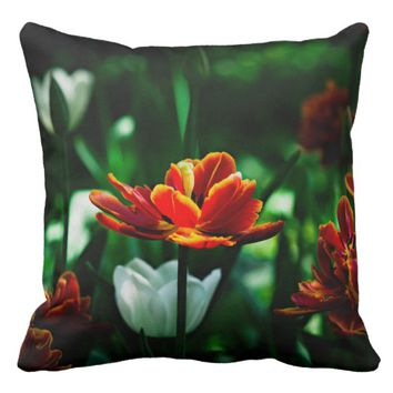 Red Tulip - His Majesty the King Throw Pillow