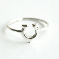 Horseshoe Silver Ring Sterling Ring .925 Silver Ring Personalized Ring