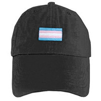 Black Baseball Cap Transgender Flag - LGBT Trans, Gay or Lesbian Pride Hat. GLBT Pride Clothing & Apparel for men. Great for Gay pride Parade. Celebrate Marriage Equality. (Black Transgender Flag Hat)