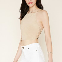 Lace-Up Faux Suede Crop Top | Forever 21 - 2000177169