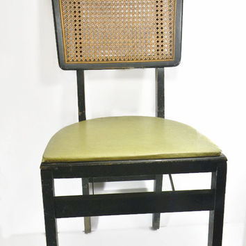 Mid Century Modern Stakmore Vintage Chair Folding Chair Avocado Green Cane Back