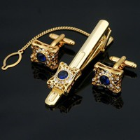 Men's Cufflinks Stainless steel Crystal Clip Clasp Set Gift Box