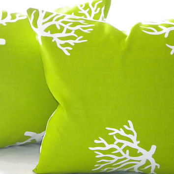 "Decorative pillow cover,  indoor/outdoor beach Lime/ White Coral - ""18 x 18 inch"""