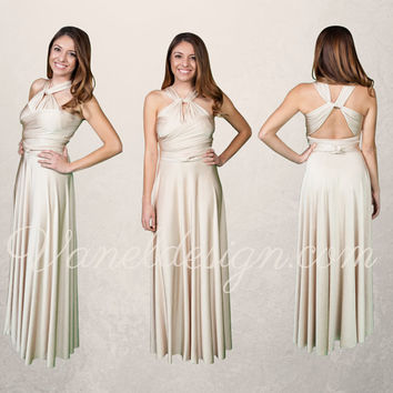 Champagne Bridesmaid Dress, Custom Made Convertible Bridesmaids Dress, Prom Dress, Formal Dress, Party Dress ** Over 50 Colors **
