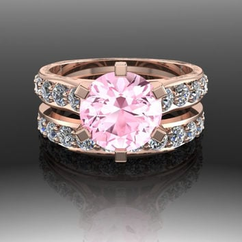 Gemstone Engagement Ring and Band Pink Topaz and Diamond 3.53 CTW