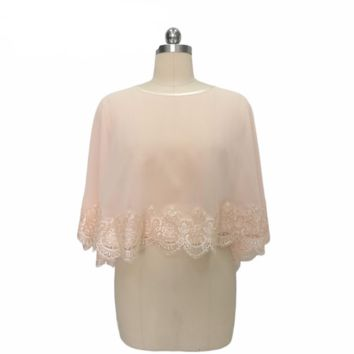Pink Lace Appliques Wedding Bolero Short Wedding Wrap Lace Bolero Bridal Wedding Jacket lace edge