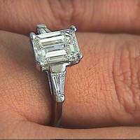 2.25ct F-VVS2 Emerald Cut Diamond Engagement Ring GIA certified  18kt White Gold JEWELFORME BLUE