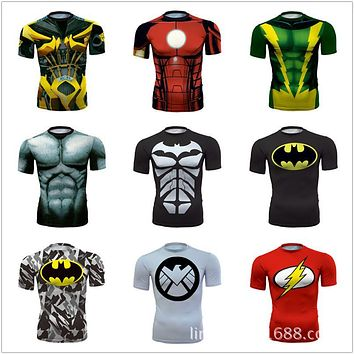 Top Quality Compression Men T-shirts Superman/Batman/Spider Man/Captain America Tshirt Men Fitness Shirts Fashion Men Tshirts
