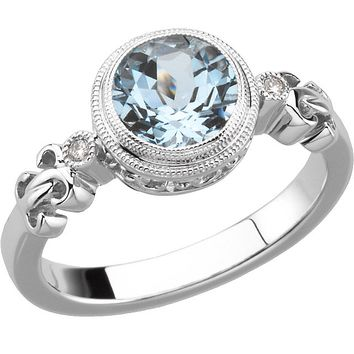 925 Sterling Silver Bezel Set Bead Accented Aquamarine & Diamond Ring: Size: 7