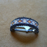 Native American Style Square Stitched Geometric patterned Ponytail Barrette