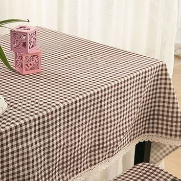 Home Tablecloth Plaid Table Cover Lace Edge Dining Tablecloth Plaid Table Cover Overlay