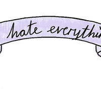 pastel lilac 'I HATE EVERYTHING' scroll insult sticker - cute & sassy