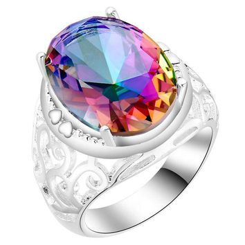 Chenier OPAL FERRIE - 1 PC  Vintage CZ Rainbow stone Silver Plated Ring