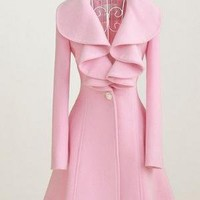 Large pink lotus leaf collar wool long coat by mili on Sense of Fashion