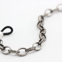 Dark Silver Glasses Holder with Engraved Chain