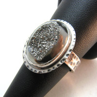 Moon Crater Ring, Sterling Silver Agate Druzy Ring