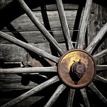 Wagon Wheel Photograph Abstract Photography Old Wood Rusty Metal Country Farm Decor Rustic Wall Art for Men Gray & Yellow | 'Rusty Hub'