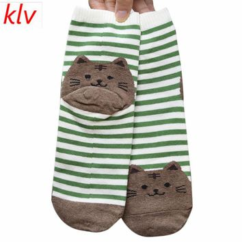 KLV Fashion Cartoon Socks Women Cat Footprints 3D Animals Style Striped Warm Cotton Socks Lady Floor meias Socks for Female