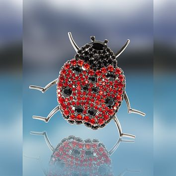 Ladybug Pin with Siam and Jet Swarovski Stones by Albert Weiss