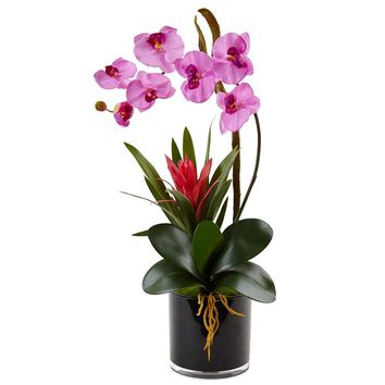 Artificial Flowers -Orchid And Bromeliad In Glossy Black Cylinder No2
