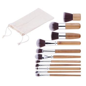 11pcs Natural Bamboo Makeup Brushes Foundation Blending Brush Tool Set High Quality
