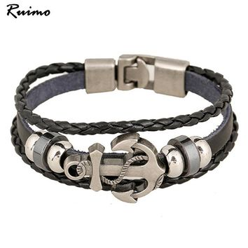 Bracelet Men's Anchor Cross Alloy Leather Casual personality PU Woven Beaded Vintage Bracelet For Women Fashion Jewelry B00526
