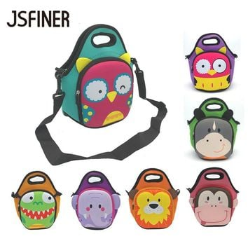 JSFINER Animal Face Pattern Lunch Bags 2 Persons Food Thermal Insulated Waterproof 100% Neoprene Picnic Tableware Lunch Bag