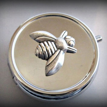 Silver Pill Box ,bee Pill Case, vintage Gothic pill case, fly pill case ,victorian style pill box,steampunk bill box,insect pill case