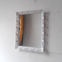 Vintage Filigree Mirror or Vanity Tray in Glossy White, 16 by 13 Inch Framed Wall Mirror, Wall Decor
