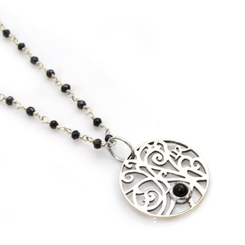 Black Onyx and Sterling Silver Rosary Chain