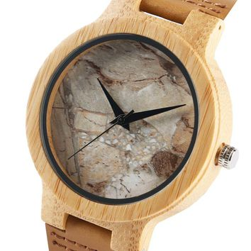 Sport Mens Wooden Watch Cool Marble Stone Rock Pattern Japanese Quartz Wristwatches Time Leather Strap Nature Wood Clock Gifts