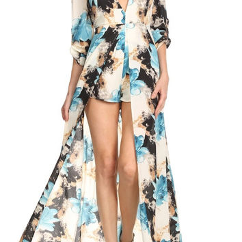 Caped Floral Romper (Blue)
