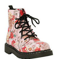 Anarchic By T.U.K. Pink Skulls & Roses Boot