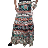 Mogul Women's Wrap Around Skirt Ethic Printed Long Maxi Skirts - Walmart.com