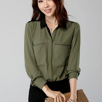 Long Sleeve Shirt Collar Chiffon Blouse